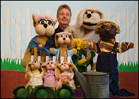 Picture of Mark Nichols and Peter Rabbit puppets